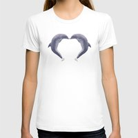 dolphins T-shirts featuring Dolphins Kisses by Simone Gatterwe
