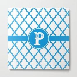 Blue Monogram: Letter P Metal Print