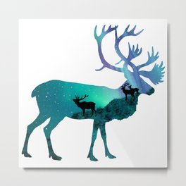 Northern Lights Elk Metal Print