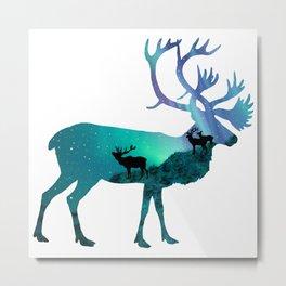 Northern Lights Elk Metal Print