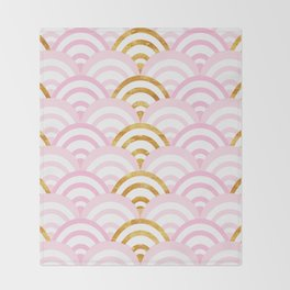 Pink and Gold Mermaid Scallops Throw Blanket