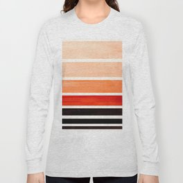 Burnt Sienna Minimalist Mid Century Modern Color Fields Ombre Watercolor Staggered Squares Long Sleeve T-shirt