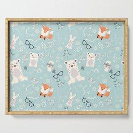 Christmas polar animals pattern 001 Serving Tray