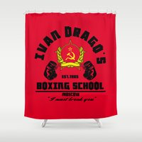 boxing Shower Curtains featuring Ivan Drago's boxing school by CarloJ1956