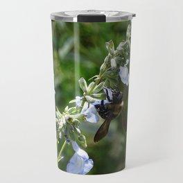 Bumblee on Prairie Blue Sage Salvia Azura Travel Mug