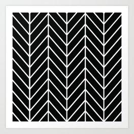 Herringbone Black Art Print