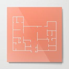 Coral Floor Plan Line Art Metal Print