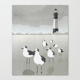 Seagulls Lighthouse Canvas Print