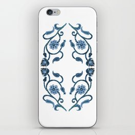 Blue Paisley Double Heart 1 iPhone Skin