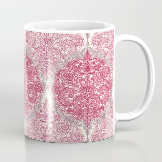 Happy Place Doodle in Berry Pink, Cream & Mauve Mug
