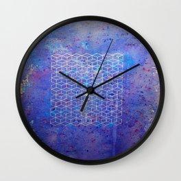 Purple cubes Wall Clock