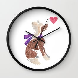 Watercolour Chinese Crested Dog Wall Clock