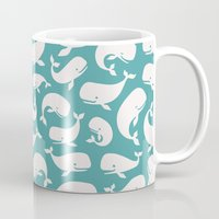 moby dick Mugs featuring Moby Dick - Turquoise by Drivis