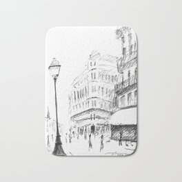 Sketch of a Street in Paris Bath Mat