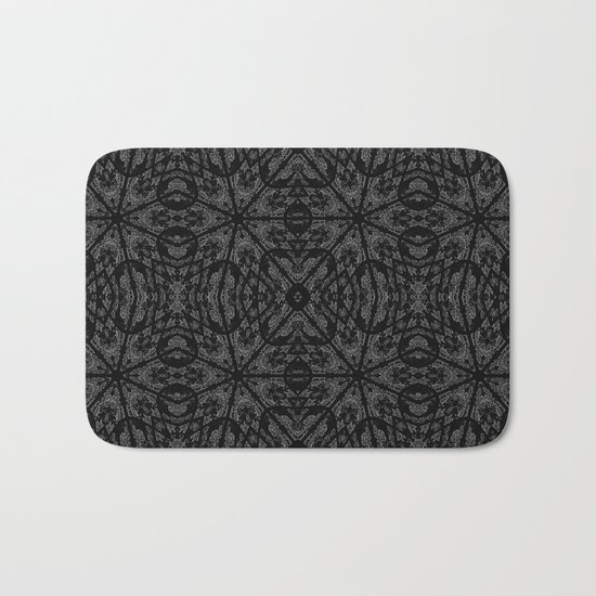 Slate Gray Black Pattern Bath Mat