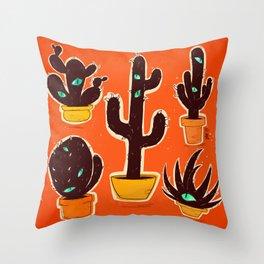 Cat//Cactus Throw Pillow