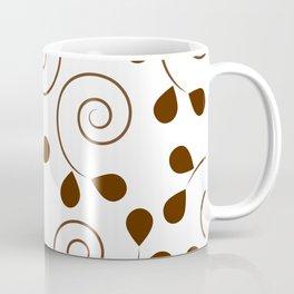 Brown Floral Swirl Pattern Coffee Mug