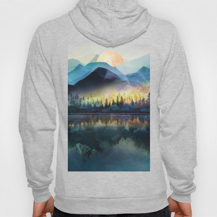 Mountain Lake Under Sunrise Hoodie