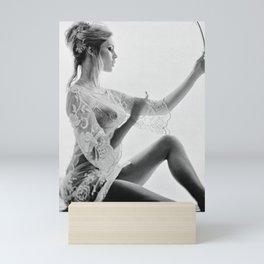 Brigitte Bardot in the looking glass black and white photography - black and white photographs Mini Art Print
