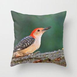 Red Bellied Woodpecker - A Nature Art Print Throw Pillow
