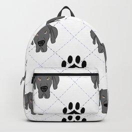 Blue Great Dane Paw Print Pattern Backpack