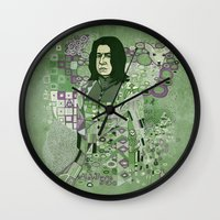 snape Wall Clocks featuring Portrait of a Potions Master by Karen Hallion Illustrations