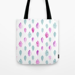 Pink pastel blue hand painted watercolor leaves Tote Bag