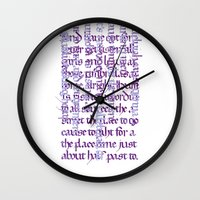 calligraphy Wall Clocks featuring Calligraphy Gothic by Cami Landia