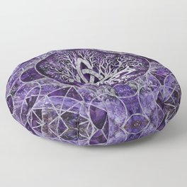 Tree of life with Triquetra Amethyst and silver Floor Pillow