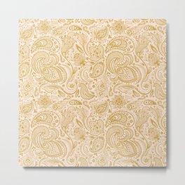 Gold & Beige Floral Paisley Pattern Metal Print