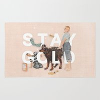 stay gold Area & Throw Rugs featuring Stay Gold by Heather Landis