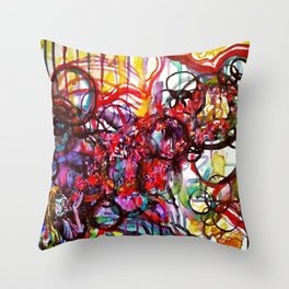 Whimsical Flower Girl's Force Field Acrylic and Watercolor Painting Throw Pillow