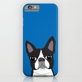 Boston Terrier Lilly Blue iPhone Case