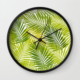 Palm leaf silhouettes seamless pattern. Tropical leaves. Wall Clock