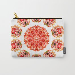 Red Floral Floklore Flower Pattern Illustration Carry-All Pouch