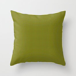 Bright Cats Eye Yellow and Black Hell Hounds Tooth Check Throw Pillow