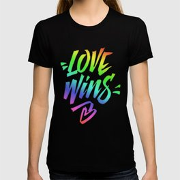Love Wins Lettering with Rainbow colors Gradient T-shirt