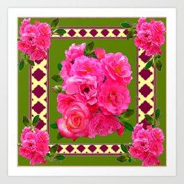 VIBRANT PINK ROSES ON MOSS GREEN PATTERN Art Print