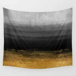 Black and Gold grunge stripes on modern grey concrete abstract background - Stripe -Striped Wall Tapestry