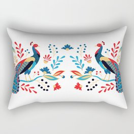 Folk Peacock Bright Rectangular Pillow