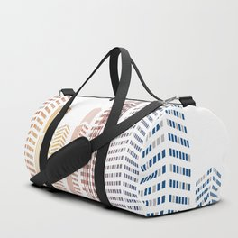 Geometric squares particles pixelated city building Duffle Bag
