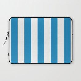 Cyan cornflower blue - solid color - white vertical lines pattern Laptop Sleeve
