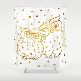 Gold Owls Shower Curtain