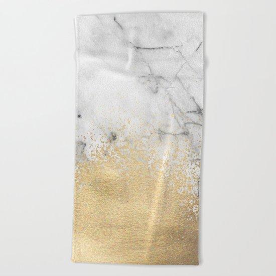Gold Dust on Marble Beach Towel