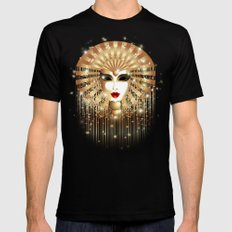 Golden Venice Carnival Mask  2X-LARGE Black Mens Fitted Tee