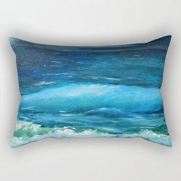 Blue seascape breeze with storm clouds. Oil painting seascape circle wall art decor. Rectangular Pillow