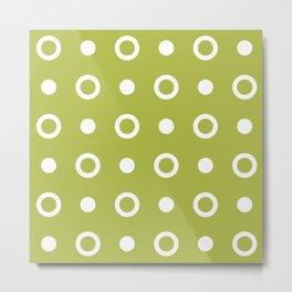 Polka Dot Pattern 244 Chartreuse Metal Print