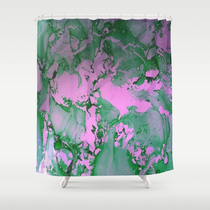 Green and Pink Delight Shower Curtain