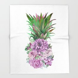 Floral Pineapple 1 Throw Blanket