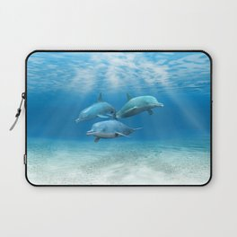 Pod Of Swimming Dolphins Laptop Sleeve